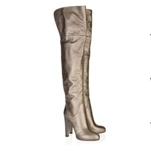 Sergio Rossi over the knee snakeskin gold boots